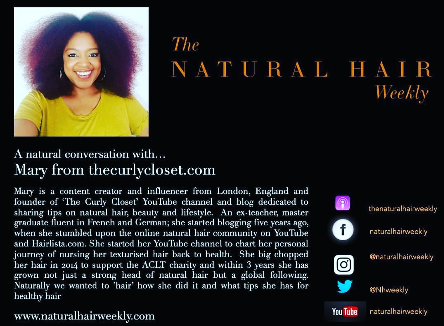 The Curly Closet featured on Natural Hair Weekly podcast